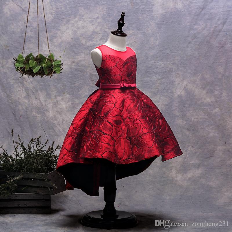 2019 Kids Girls Flower Dress Baby Girl Birthday Party Dresses Children  Fancy Princess Ball Gown Wedding Clothes Red From Zongheng231, $28.15