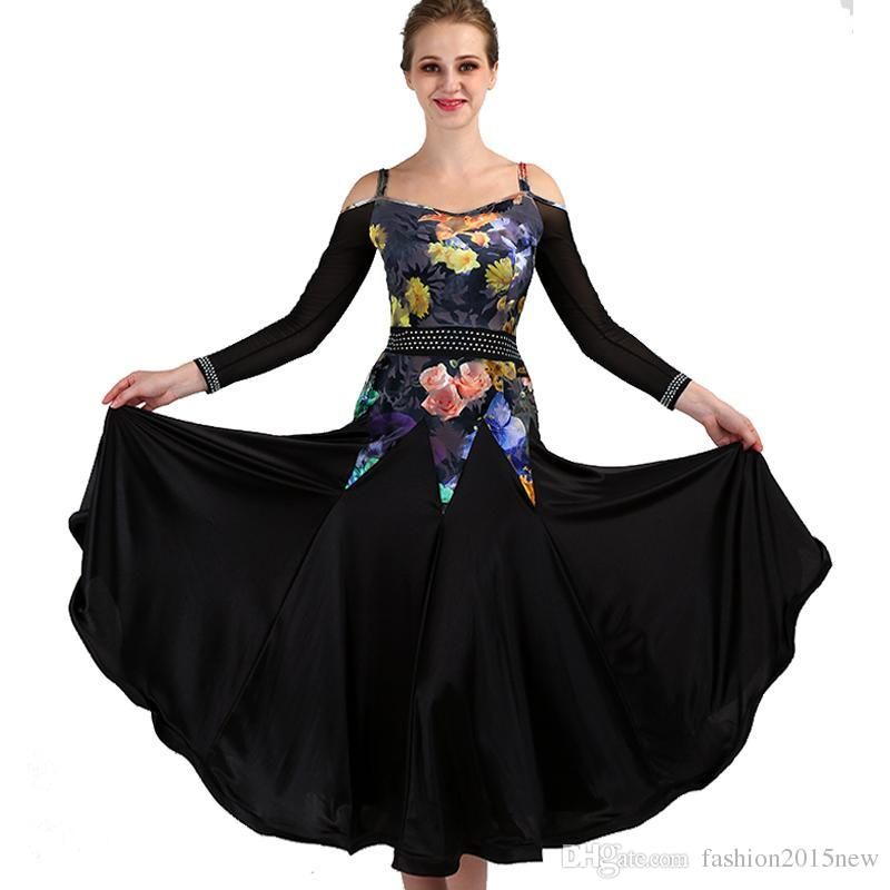 Ballroom Competition Dance Dress Black Floral American Dress Tango Waltz Gown 12