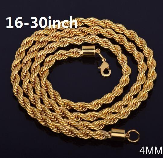4 мм*16-30 дюймов твист цепь 18K позолоченный ожерелье мода личности sautoir мужчина / женщина золото пары ожерелье