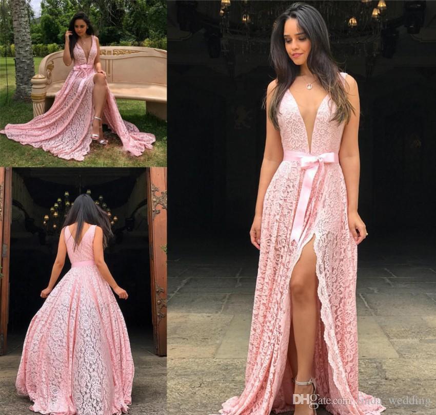 2019 rosa rendas vestido de noite mergulhando decote em v longo sem encosto férias desgaste pageant baile de formatura vestido de festa custom made plus size