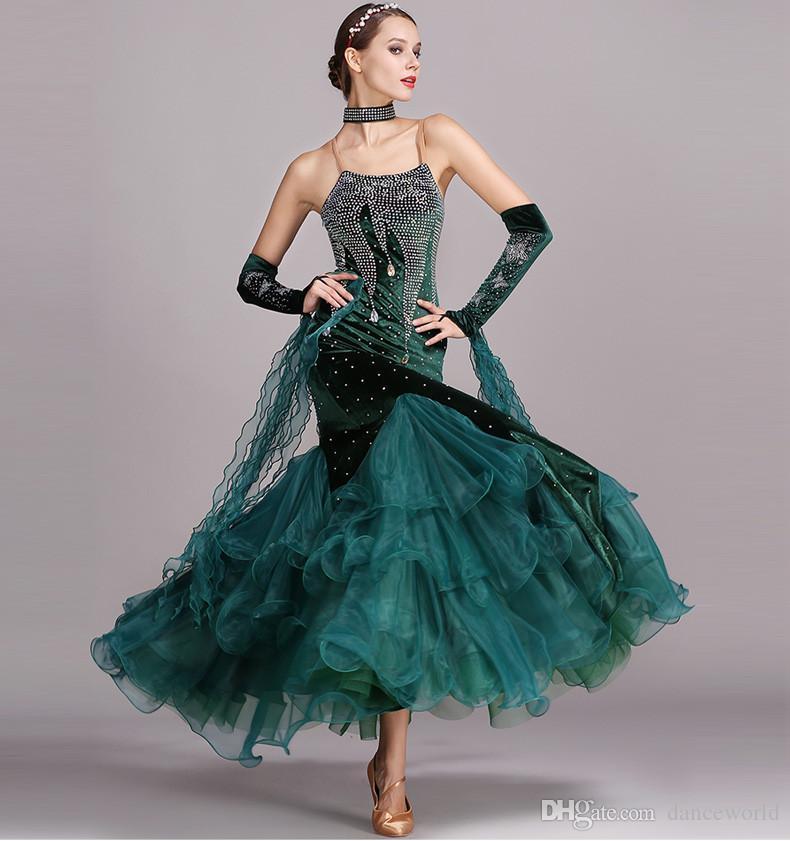 5 colores rhinestones azules vestidos de baile vestidos estándar trajes de baile moderno trajes luminosos vestido de baile vals