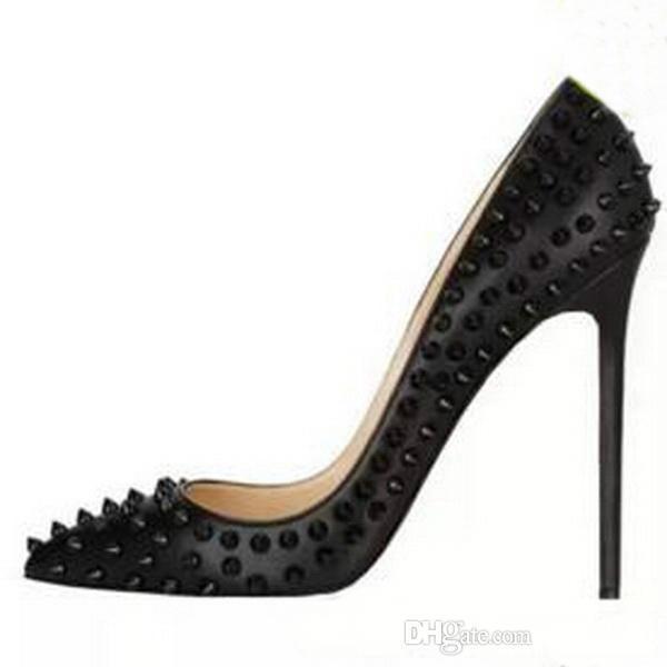 Marka tasarımcısı 2017 Moda Kırmızı Alt Ayakkabı Yeni Varış Yüksek Topuklar Elbise / parti Ayakkabı Süper Stiletto Yüksek Topuk Perçinler Pompalar boyutu AB 34 45