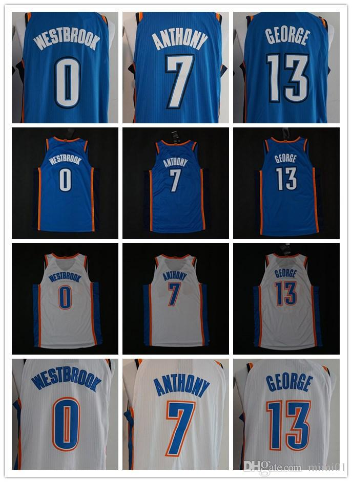 size 40 2ff7f 5d691 2018 2018 Men Okc Swingman Jersey 0 Russell Westbrook 13 Paul George 7  Carmelo Anthony 100% Stitched Jerseys Cheap Ncaa College From ...