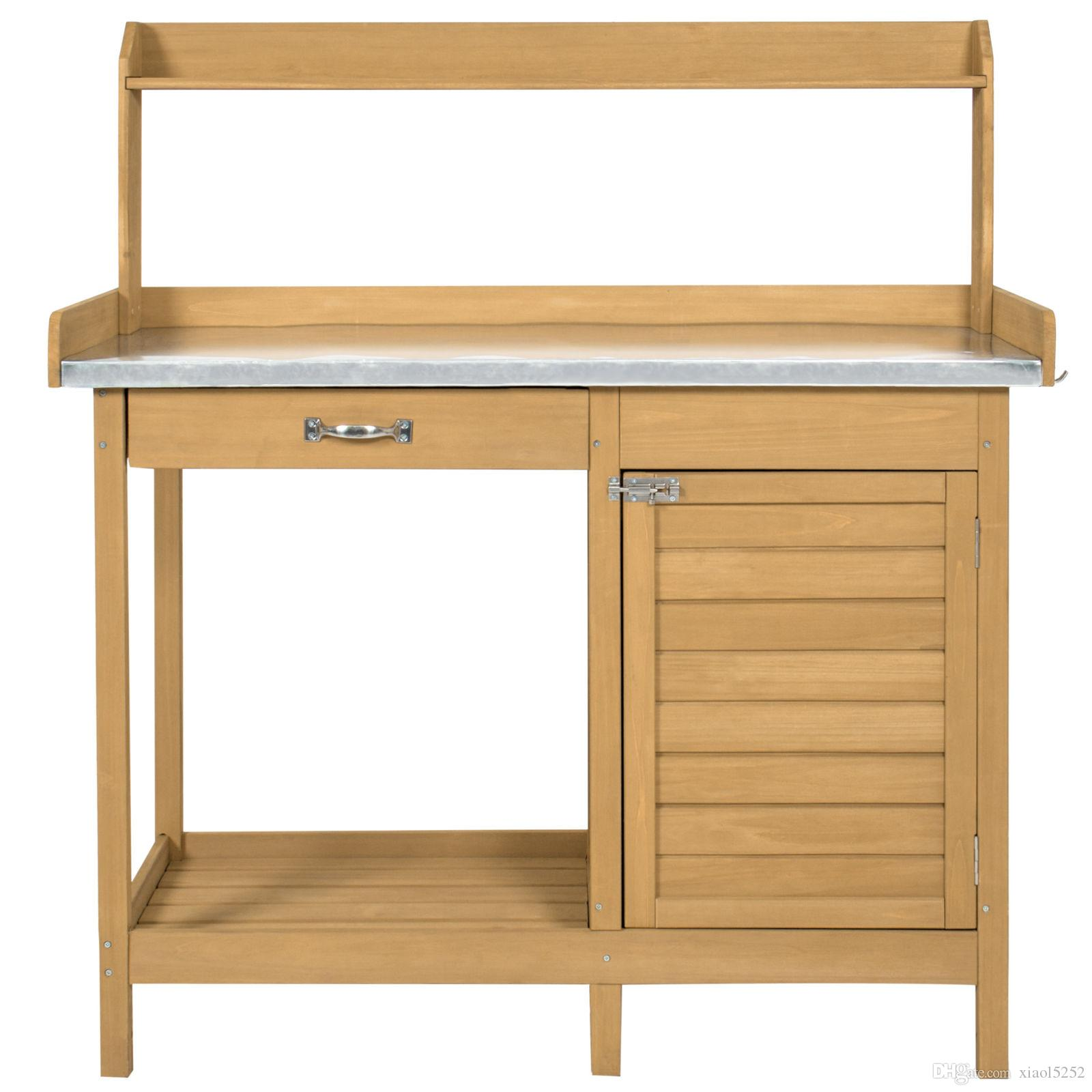 2019 Outdoor Garden Potting Bench Metal Tabletop W/ Cabinet Work Station  From Xiaol5252, $80.41 | DHgate.Com