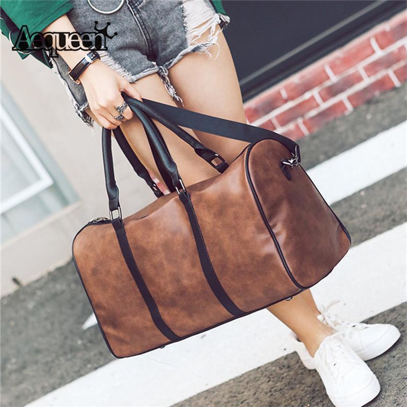 AEQUEEN Viaggiare Leather Tote Duffle borsa degli uomini delle donne PU Bag Viaggi Grande bagagli di alta qualità Borsa retrò spalla