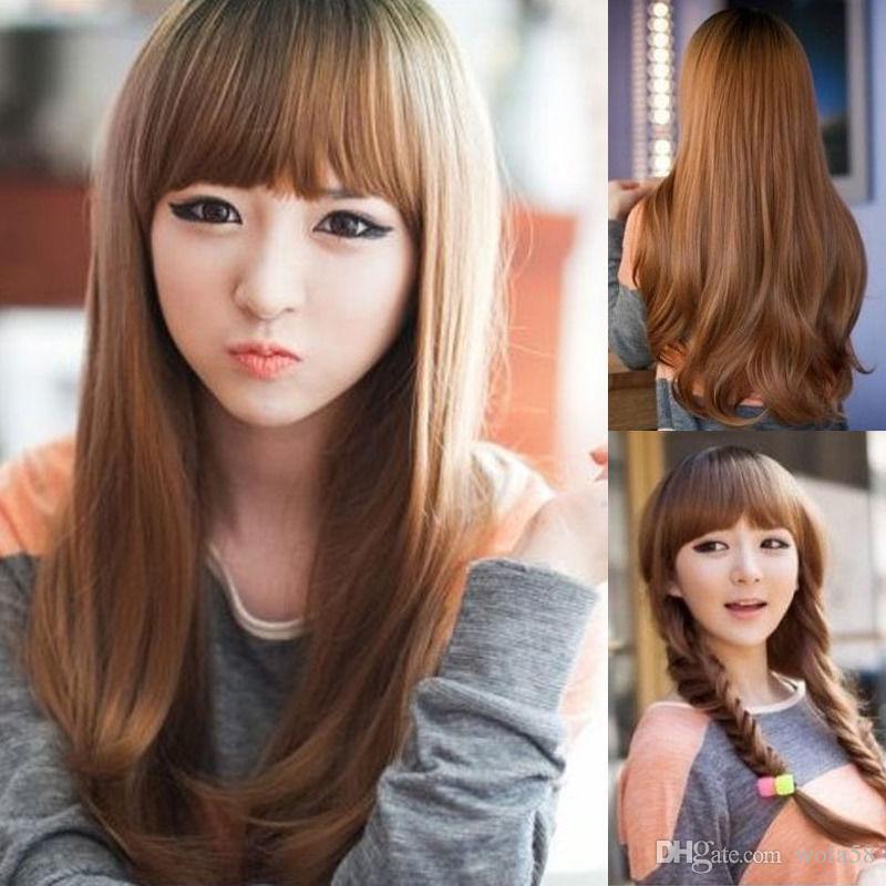 FIXSF685 nuevo estilo encantador moda pelucas de pelo marrón ondulado largo para las mujeres peluca