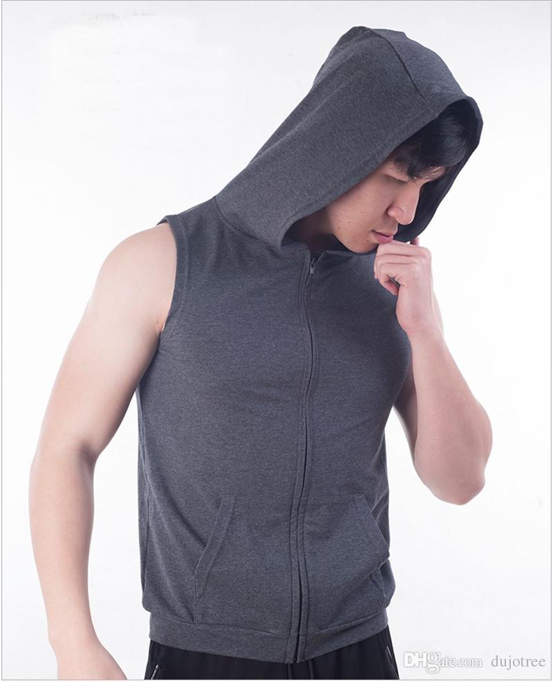 T-shirt Tops Men Summer Hooded Pullover Shirt Blouse Zip Up