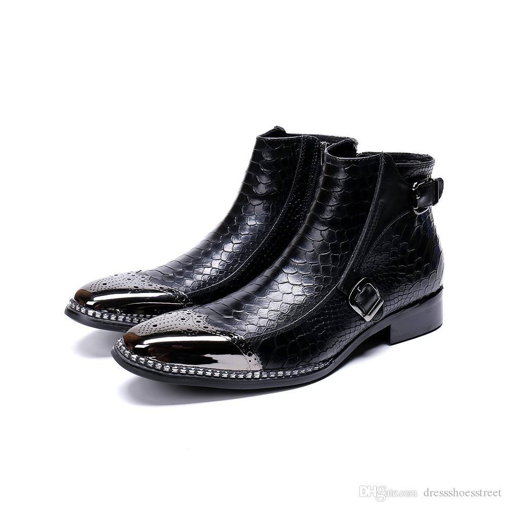Rock Western Boots Men Metal Tip Safety Ankle Leather Boots Men Party Runway Dress Boots Men