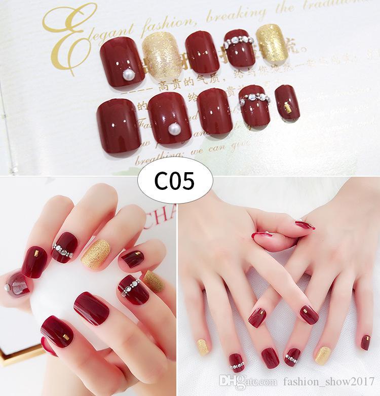 41 designs Gefälschte Nägel Künstliche 24 stücke Frauen Finger Nagel kurze Lange Falsche Nägel mit Kleber Nette Designs für DIY Nagel