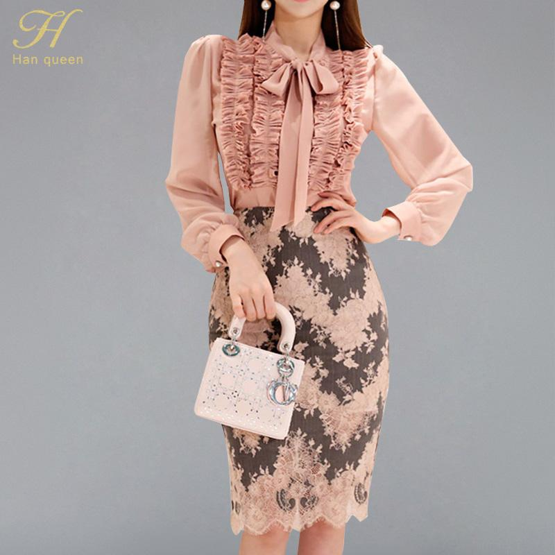 H Han Queen 2 piezas trajes mujeres 2018 otoño acanalado drapeado cintas camisa Top Print encaje vaina bodycon lápiz falda oficina conjunto