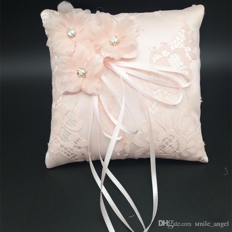 2020 New Wedding Ring Pillow With Ribbons 15x15cm Lace Wedding