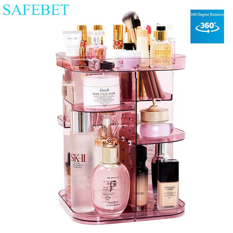 wholesale Brand Cosmetics Storage Box Large Desktop DIY 360-degree Rotating Profession Makeup Organizer Removable Saves Space
