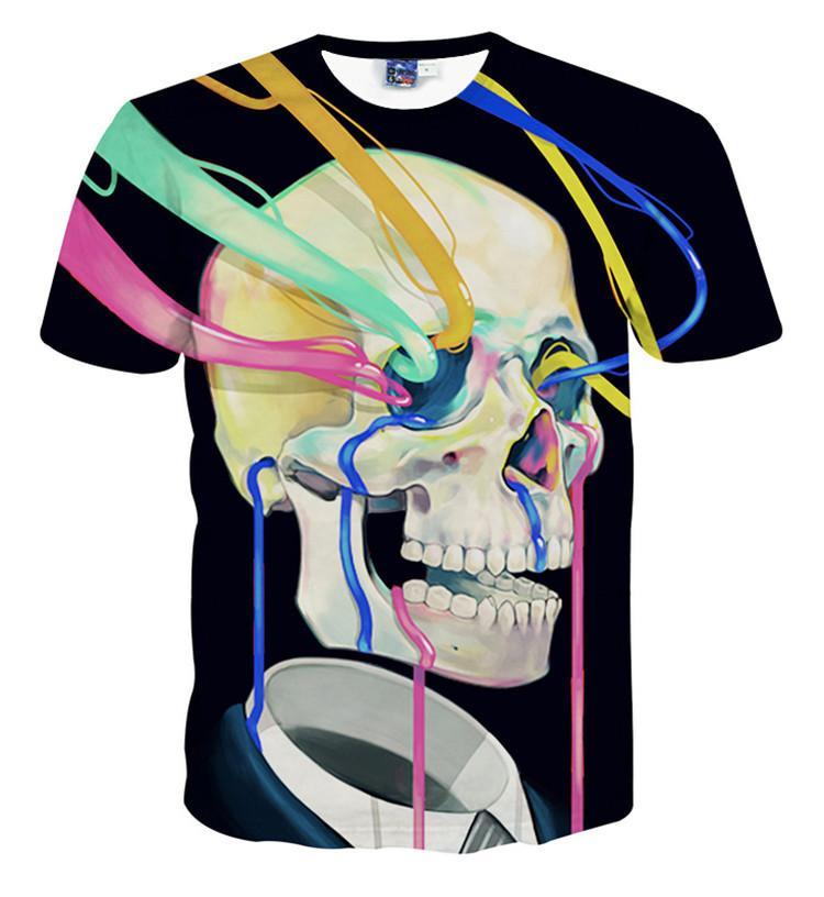 화려한 해골 인쇄 3d T 셔츠 빅 소년과 소녀 유니섹스 옷 키즈 여름 캐주얼 티셔츠 어린이 S 티셔츠 탑스