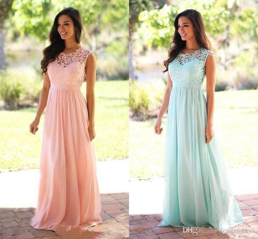 Mais novo Chiffon Vestido De Dama De Honra Lace Applique Vestidos Formais Feito Sob Encomenda Das Mulheres Elegante Ocasião Especial Eventos Wears