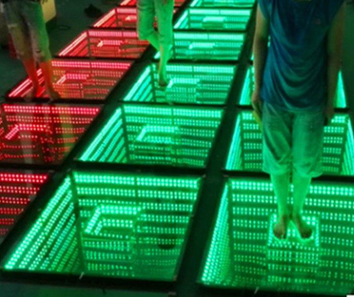 50 * 50 سنتيمتر مرآة 3d الصمام الرقص ضوء الطابق ضوء مع sd التحكم أدى المرحلة تأثير ضوء المرحلة لوحة الطابق أضواء ديسكو dj حزب أضواء الزفاف ديكور