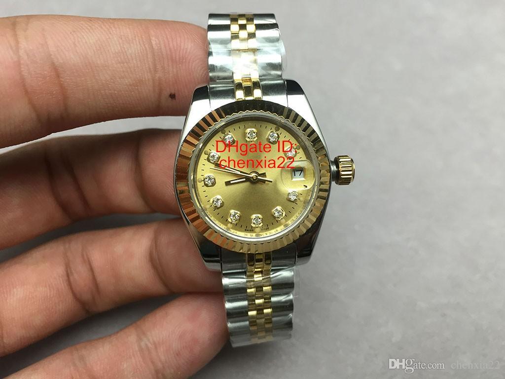 Luxo Presidente Data Relógios Mostrador de Ouro Mulheres Relógios Em Aço Inoxidável Das Senhoras Relógio de Pulso Automático dos Namorados Melhor Presente 32mm