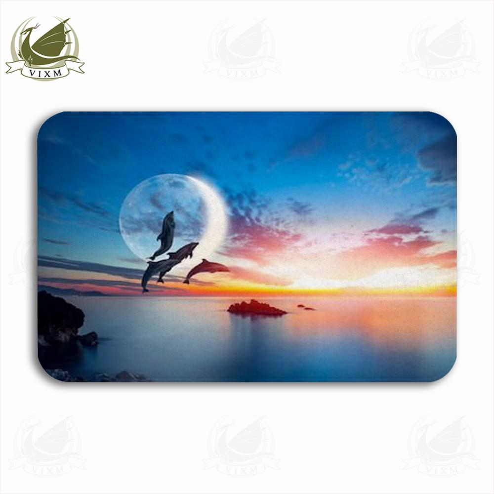 Vixm Dolphin Silhouette Jumps From The Sea Sunset Supe Welcome Door Mat Rugs Flannel Anti-slip Entrance Indoor Kitchen Bath Carpet