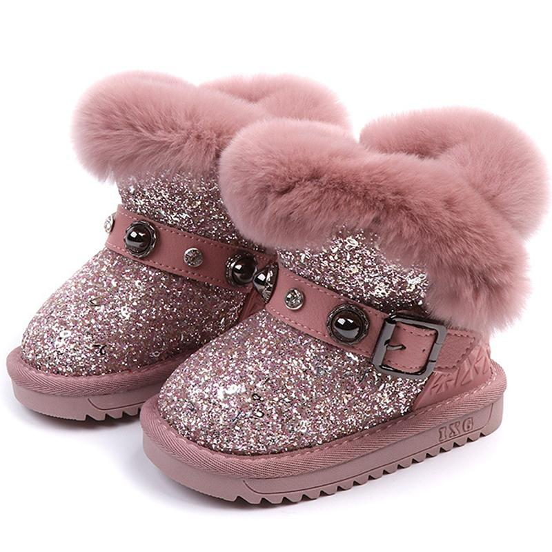 UK Kids Child Girls Warm Fur Lined Shoes Glitter Sequin Rabbit Ankle Boots Shoes