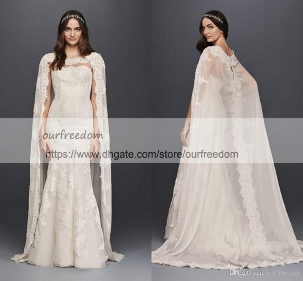 Oleg Cassini Scalloped Chiffon Lace Cape Wedding Dress 2019 Modest