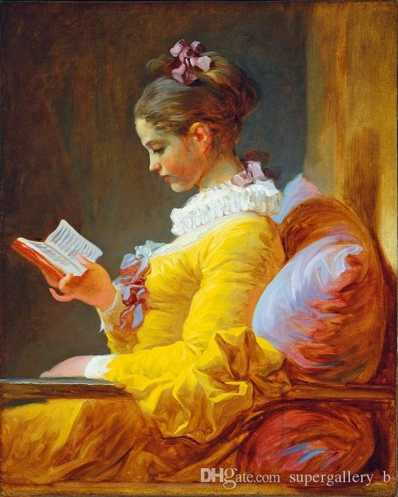 Young Woman Girl In Yellow Dress Reading A Book Handpainted & HD Print Fine Figure Art oil painting On Canvas Multi size p281
