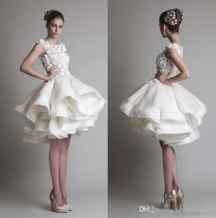 Designer Wedding Gowns Short Design Colour Ivory Sleeveless Knee Length Ball Gown Girls' Modern Bateau Wedding Dresses Organza Fabric