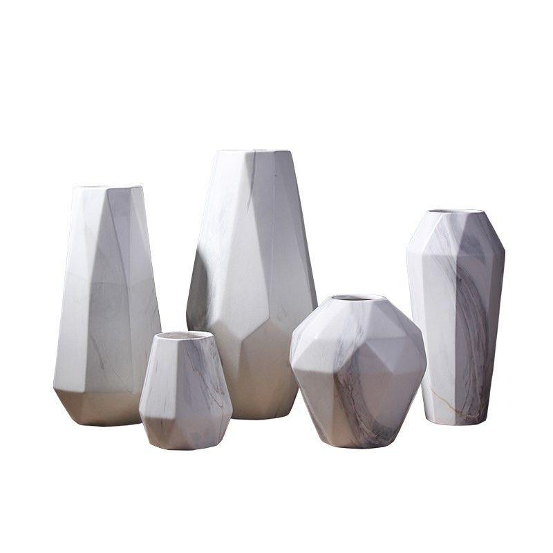 Scandinavian Marble Ceramic Vase Geometric Modern Design Ceramic Flower Vase Decoration Craft for Home Living Room Restaurant