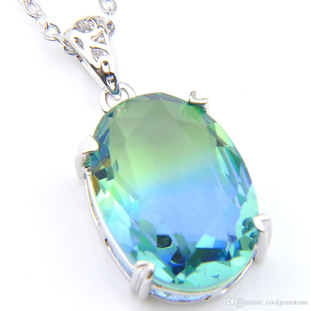 Luckyshine 6Pcs / Lot nuova annata di stile reale bi-colore tormalina gemme 925 del pendente placcato argento Dimensione Jewelry 13 * 18MM