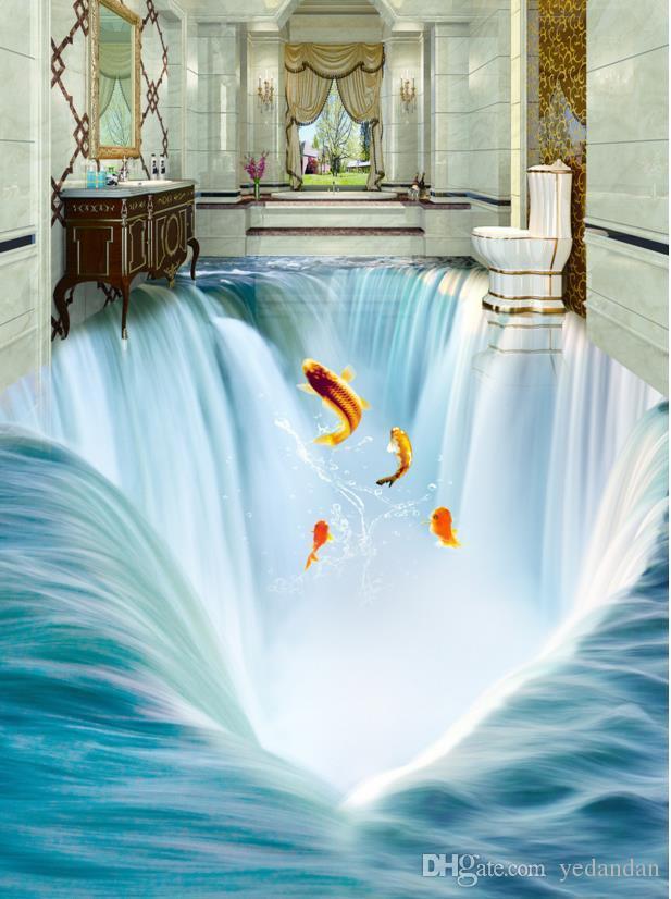 3d пол пользовательские обои для стен 3 d полы водопад вода фото обои 3d пол живопись самоклеящиеся обои