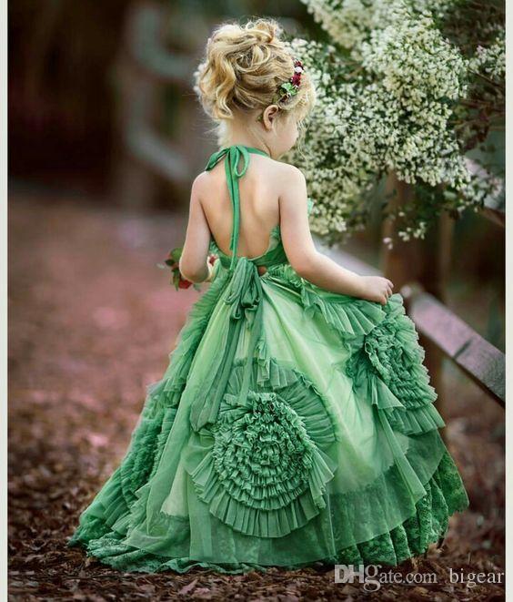 Vestido de niña de flores verde con falda rizada de Dollcale