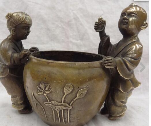 """8 """"Chinese Bronze 2 Kid Crianças Caixa de Peixe Riqueza Pote Estátua Tigela Tanque Censer"""