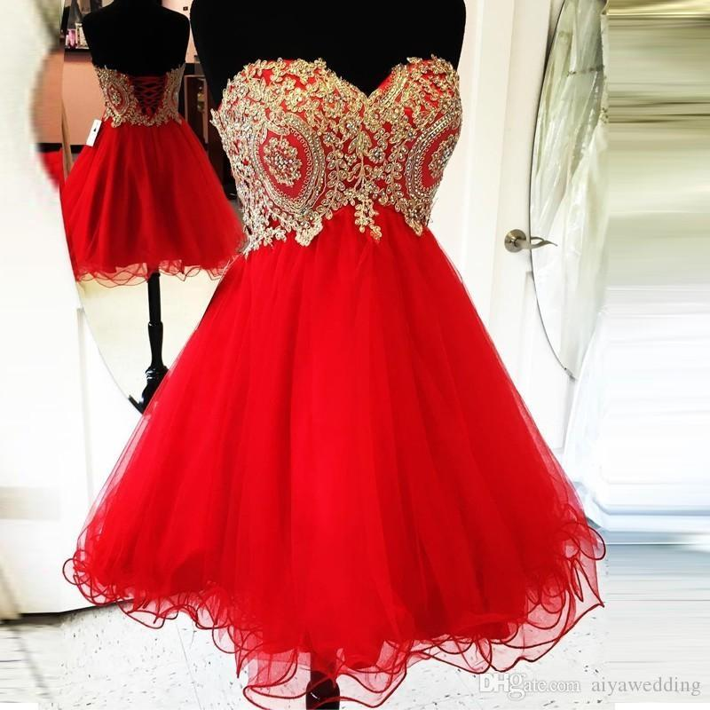 Gold Lace Appliques Short Red Homecoming Dresses 2019 Cocktail Party Dresses Ruffles Tulle Short Prom Dresses