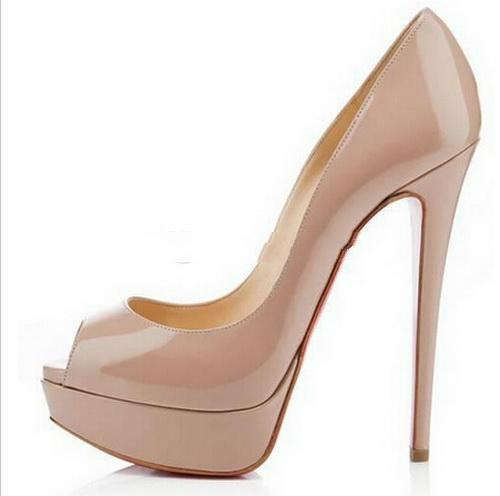 Women Pump Black Leather High Thin Heel Peep Toe Ankle