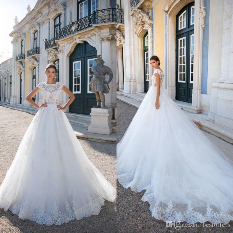 2019 vintage vestido de bola cuentas cristal vestidos de novia sin respaldo ver a través de los vestidos de princesa nupcial con cuentas de encaje con cuentas con mangas de casquillo vestido de novia