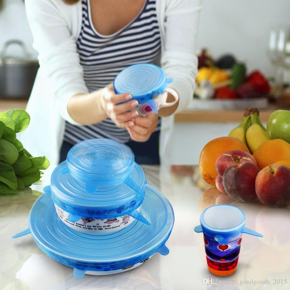 6PCS/Set Universal Silicone Suction Lid-bowl Pan Cooking Pot Lid-silicon Stretch Lids Silicone Cover Pan Spill lid Stopper Cover c361