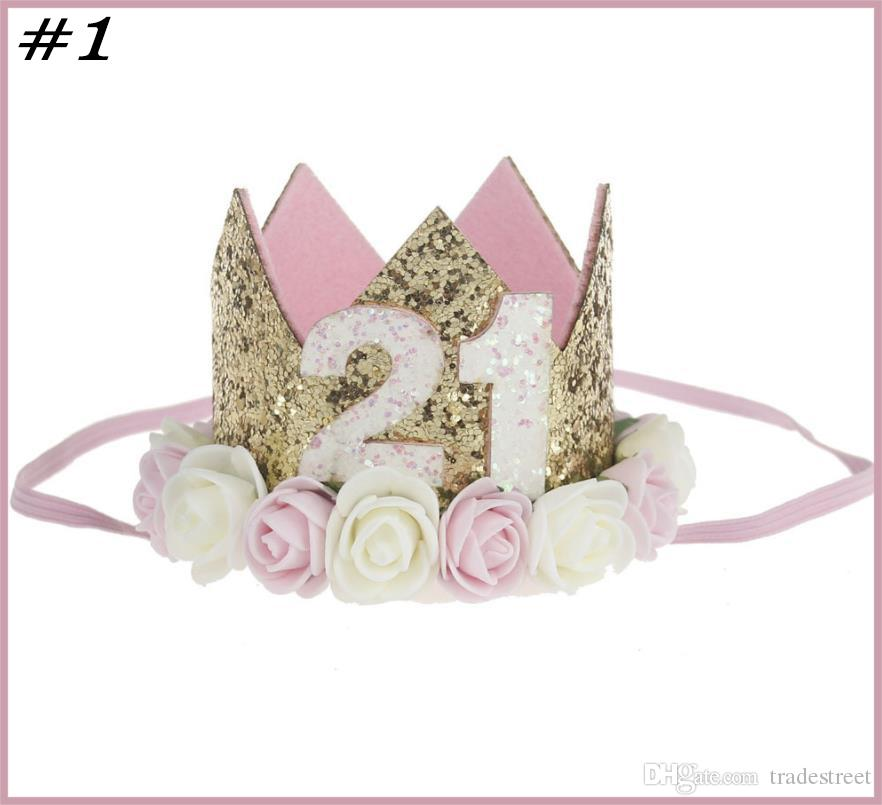 Ücretsiz nakliye 10pcs Bebek Kız Erkek Bir 1 2 3 4 5 6 7 8 9 Yaşında Doğum Şapka Taç Bantlar Doğum Günü Partisi Dekorasyon Saç Dekoratif