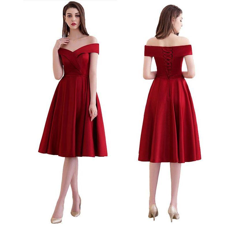 Compre Nuevos Vestidos De Coctel Elegantes Vestidos De Noche Vestidos De Fiesta Cortos De Satén Una Línea Estilo Sin Respaldo Con Cuello En V Con
