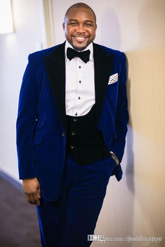 Nowy Popularny Blue Velvet Groom Tuxedos Groomsmen Blazer Doskonały Mężczyźni Biznes Formalne Prom Party Garnitury (kurtka + spodnie + krawat + kamizelka) 1140