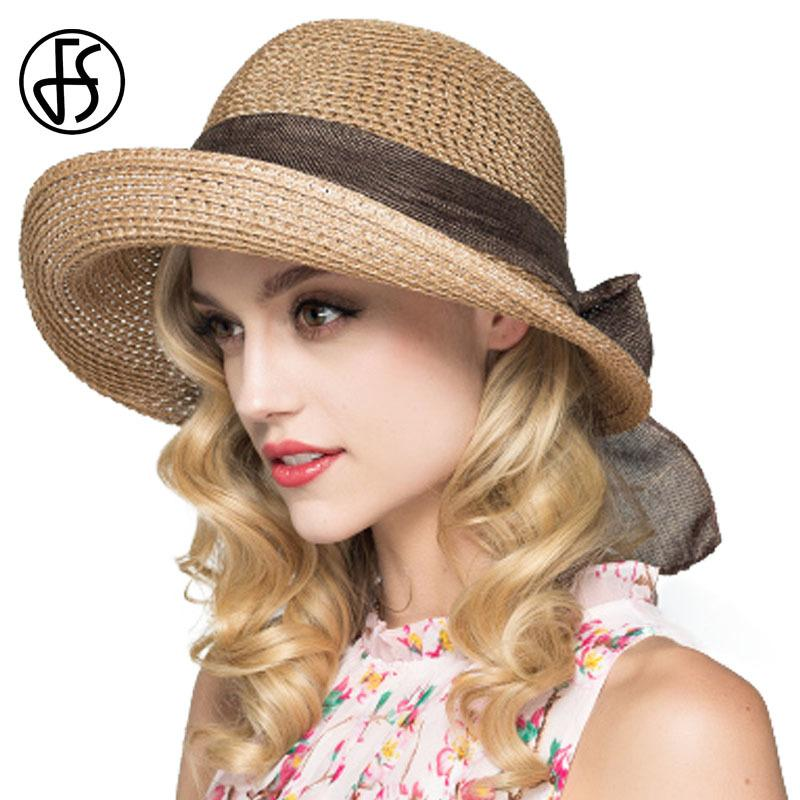 FS Summer Sun Hats For Women Foldable 2018 Straw Sunbonnet Wide Brim Floppy Cloche Hat Vacation Beach Style Chapeau Paille Femme S18101708