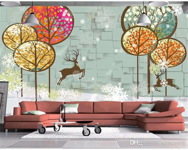 3D stereo cartoon bedroom wall paper sweet and simple children room green wallpaper lovely snowflake tree big wall