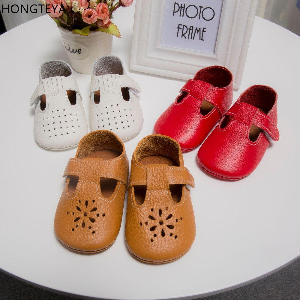 Hongteya T-bar flor hueca Verano de Cuero Genuino Mocasines Del Bebé Zapatos de Bebé Suaves niñas primer andador Zapatos antideslizantes para niños pequeños
