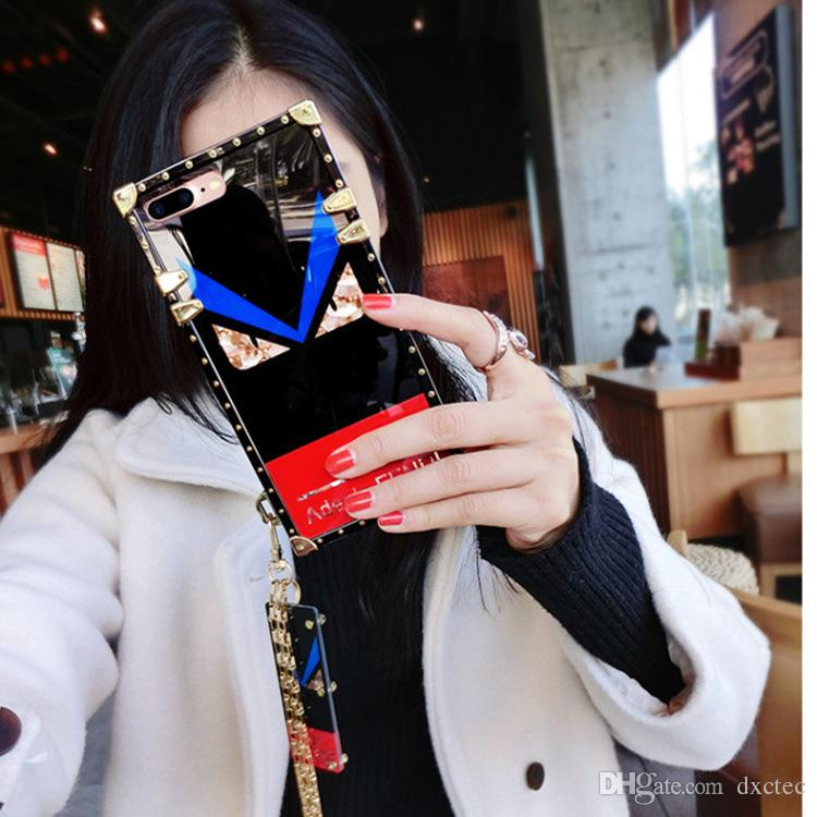 Square Plating Silicone Devil Eyes Phone Case with Pendant Wristband Rope Bracelet Back Cover for iPhone XS Max 6s 7 8 Plus