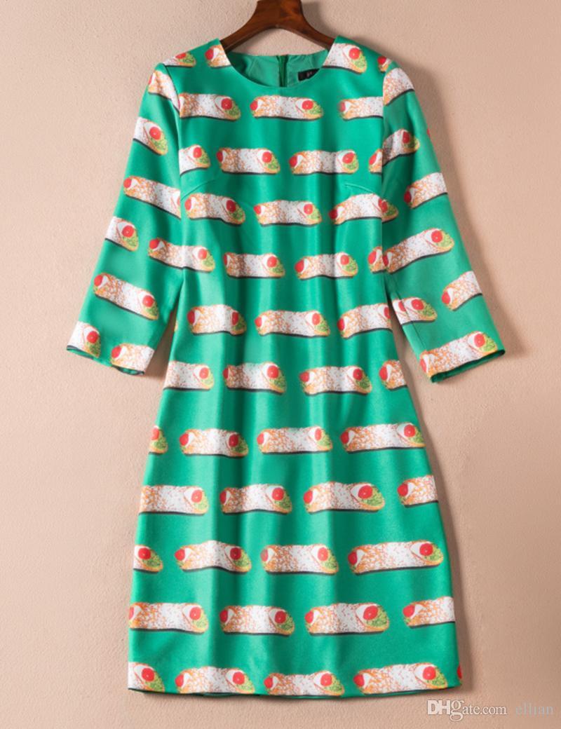 Vestido de la envoltura de las mujeres de la impresión de la manera 3/4 vestidos ocasionales 07K804 del cuello redondo de la manga
