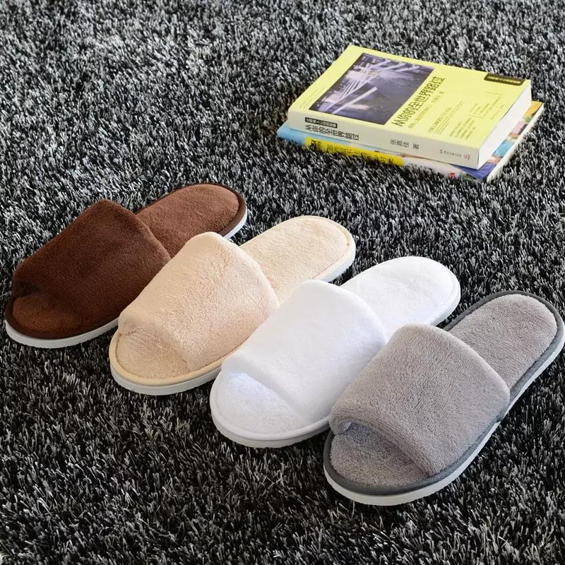 Soft Hotel SPA Zapatillas no desechables Terciopelo de color 10mm Suela gruesa Casual Terry Pantuflas de tela de algodón, Un tamaño Se adapta a la mayoría