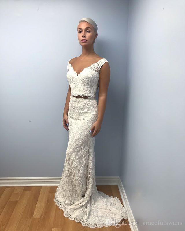2 штуки свадебные платья русалка v шеи бак кружева свадебные платья две части невесты свадебная одежда Vestido de boda