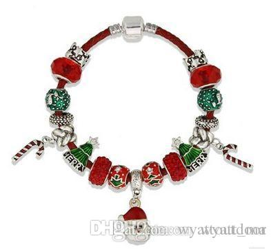 Christmas European Style Authentic Tibetan Silver Bracelet Allow Silver Plated Bead With bubbles Charm Bracelet Women Jewelry 17-22CM