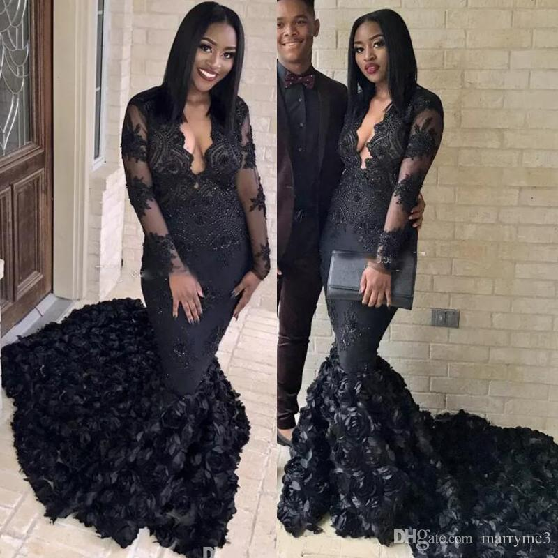 Plus Size Prom Dresses 2018 Black Mermaid Long Sleeve Lace Appliques Beads  Rose Flowers Sweep Traon Formal Evening Dresses Custom Made ME040 Short ...