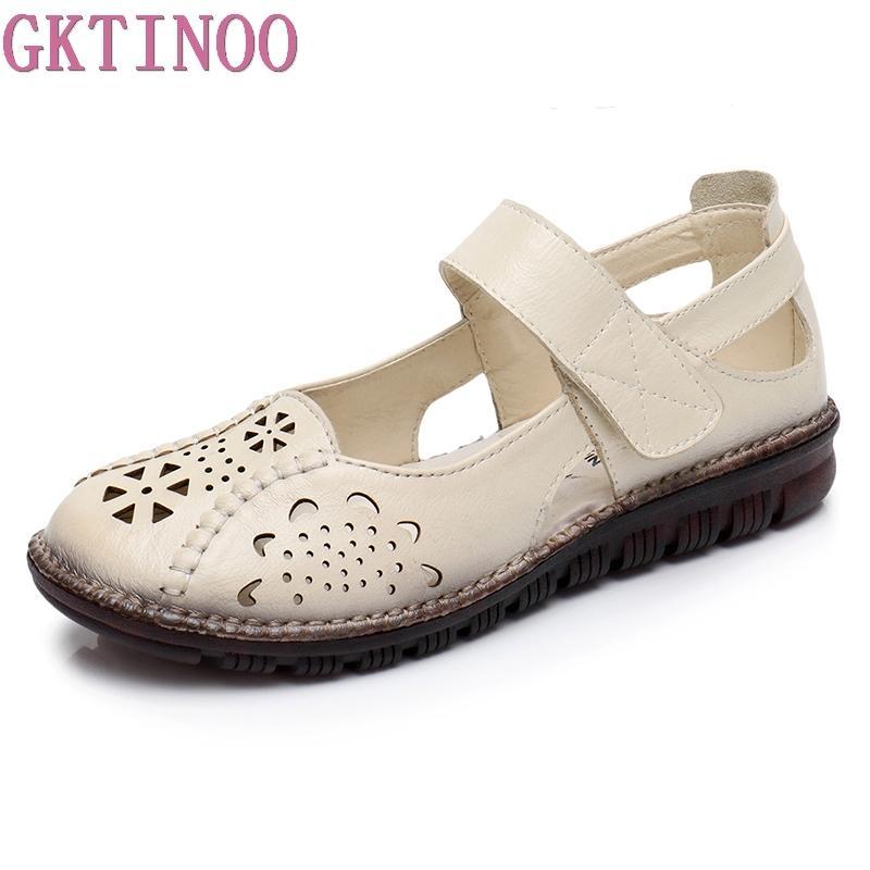Toptan Yaz Ayakkabı Kadın Hakiki Deri Yumuşak Taban Kapalı Toe Sandalet Rahat Düz Kadın Ayakkabı Yeni Moda Kadın Sandalet