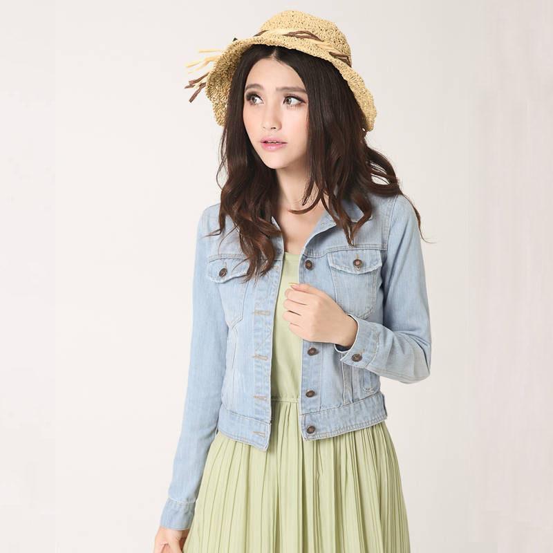 Nouvellement Automne Vintage Mode Denim Manteaux Vêtements Col Rabattu Femmes Crop Top Solide Mince À Manches Longues Dames Vestes 62471 S18101102
