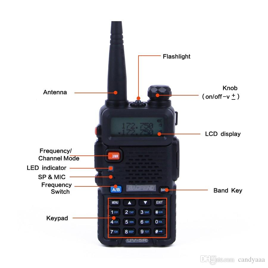 Nouveau portable Baofeng UV5R talkie-walkie professionnel CB Radio station Baofeng UV5R récepteur VHF UHF 5W UV 5R Hunting Ham Radio