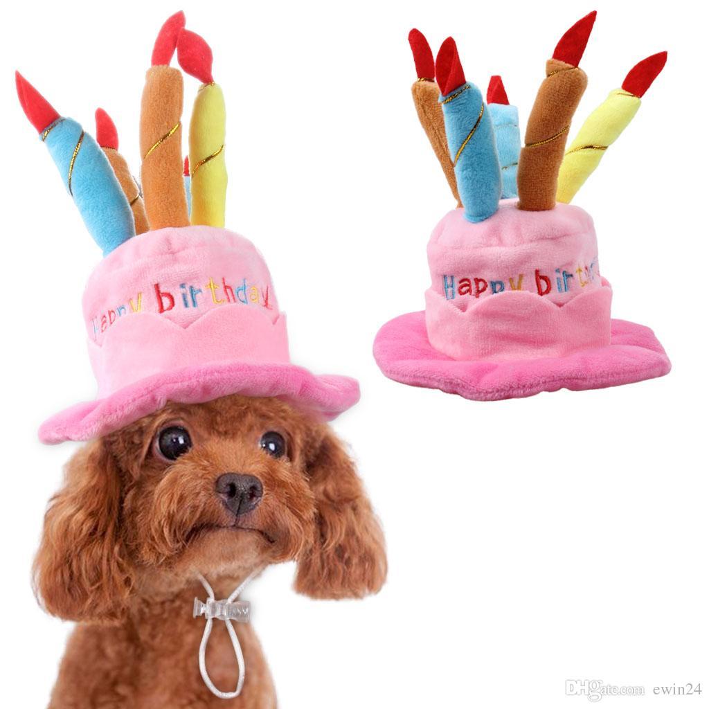 고양이와 개를위한 애완 동물의 생일 모자 옷 강아지의 케이크 모자와 양초 슈퍼 캐시미어 원단 핑크 블루